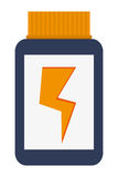 Dietary supplement with lightning ray icon Royalty Free Stock Images