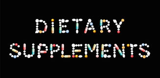 Dietary Supplement Pills Letters Stock Photo