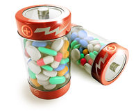 Dietary supplement. Two batteries full of colorful pills on white background Stock Photography