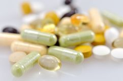 Dietary Supplements. (close up of a supplement Stock Images