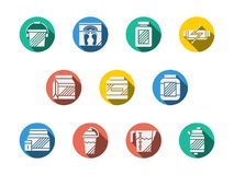 Dietary supplements round color icons. White silhouette symbols of sport dietary supplements. Protein and gainer, fat burners, energy bar and vitamins complex Royalty Free Stock Photo