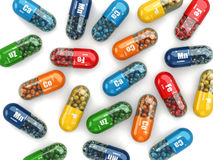 Dietary supplements. Variety pills. Vitamin capsules. Stock Photo