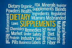 Dietary Supplements. Word cloud on blue background Royalty Free Stock Photography
