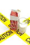 Dietary warning, lactose intolerance allergy warning Stock Image