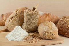 Dietetic bread with flour and wheat seeds Stock Photography