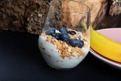 Dietetic breakfast - fruits, yoghurt and muesli. Dietetic breakfast - fruits yoghurt and muesli stock images