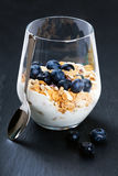 Dietetic breakfast - yoghurt with muesli and huckleberries.  Stock Photo