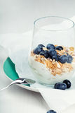Dietetic breakfast - yoghurt with muesli and huckleberries.  Royalty Free Stock Photos