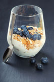 Dietetic breakfast - yoghurt with muesli and huckleberries.  Stock Photos