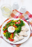 Dietetic food - chicken, vegetables, yoghurt sauce Stock Photos
