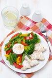Dietetic food - chicken, vegetables, yoghurt sauce Stock Photos
