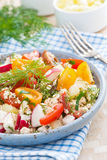 Dietetic food - fresh salad with vegetables and cottage cheese Royalty Free Stock Image