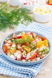 Dietetic food - fresh salad with vegetables and cottage cheese Stock Images