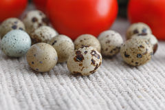 Dietetic food and quail eggs Stock Images