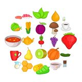 Dietetic icons set, cartoon style. Dietetic icons set. Cartoon set of 25 dietetic vector icons for web isolated on white background Royalty Free Stock Image