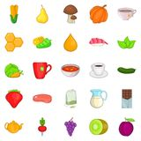 Dietetic icons set, cartoon style. Dietetic icons set. Cartoon set of 25 dietetic vector icons for web isolated on white background Stock Photo