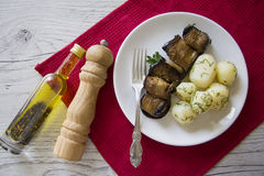 Dietetic rolls of aubergines Stock Photo