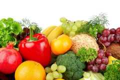 Dietetic set of paleo diet of vegetables and fruits Stock Photos