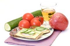 Dietetic smörgås - smaklig frukost arkivbild