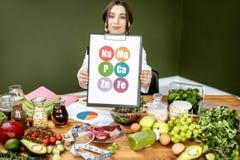 Dietetyczka z witaminy sheme przy stołem pełno zdrowi produkty obraz royalty free