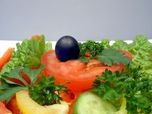 Dietic salad with olive Stock Photos