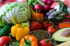 Dietic voedsel, een verscheidenheid van voedzame groenten, de zomer verse ingrediënten voor soep royalty-vrije stock foto's