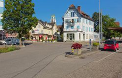 Street in the town of Dietikon, Switzerland. Dietikon, Switzerland - June 16, 2018: a street in the historic part of the town of Dietikon. Dietikon is the fifth stock photo
