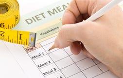 Dieting концепция потери веса - укомплектуйте личным составом заполнять вне форму планирования диеты Стоковое Изображение