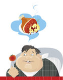 Dieting. Illustration of a fat boy on a diet dreaming about fat roast stock illustration