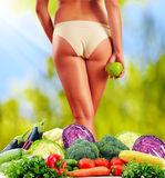 Dieting. Balanced diet based on raw organic vegetables.  Royalty Free Stock Photography