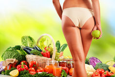 Dieting. Balanced diet based on raw organic vegetables Royalty Free Stock Photo