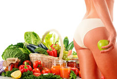 Dieting. Balanced diet based on raw organic vegetables.  royalty free stock images