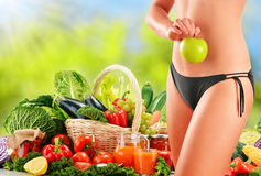 Dieting. Balanced diet based on raw organic vegetables.  Royalty Free Stock Photos