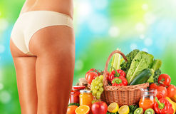 Dieting. Balanced diet based on raw organic vegetables Stock Image