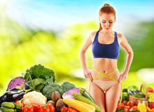 Dieting. Balanced diet based on raw organic vegetables.  Stock Images