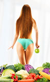Dieting. Balanced diet based on raw organic vegetables Royalty Free Stock Photography
