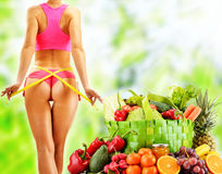 Dieting. Balanced diet based on raw organic vegetables.  Royalty Free Stock Image