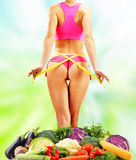 Dieting. Balanced diet based on raw organic vegetables royalty free stock image