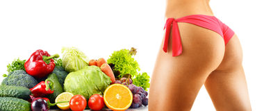 Dieting. Balanced diet based on raw organic vegetables Royalty Free Stock Images
