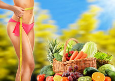 Dieting. Balanced diet based on raw organic vegetables.  Royalty Free Stock Photo