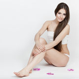 Dieting. Beautiful brunette young woman sitting Stock Photo
