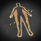 Dieting And Body Health. Concept as a chalk drawing on a road surface with an obese person and a thin one inside as a weight loss goal symbol for a healthy vector illustration