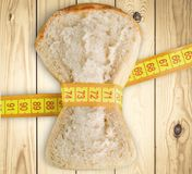 Dieting. Bread isolated grasp slice white fat Stock Image