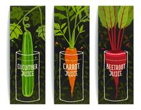 Dieting Carrot Cucumber Beet Juices Hand Drawn Stock Image