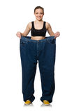 Dieting concept with big jeans on white Stock Image