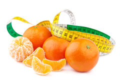 Dieting Concept, Tangerines  with Measuring Tape Stock Image