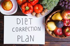 Diet correction plan and plenty of food on table royalty free stock photos