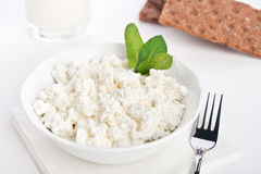 Dieting cottage cheese breakfast Stock Photo