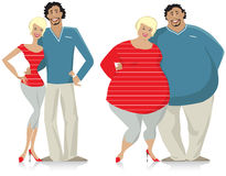 Dieting couple. From fat to thin Royalty Free Stock Photography