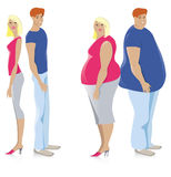 Dieting couple. From fat to thin stock illustration